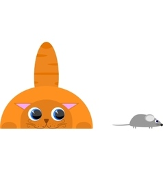 Red cat hunting for mouse Isolated on a white vector image
