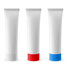Three toothpaste tube on white background vector