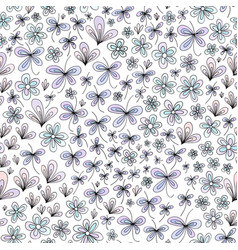 Hand drawn abstract nature floral pattern vector