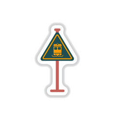 In paper sticker style tram vector