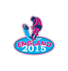 Rugby player kicking ball england 2015 retro vector