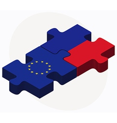 European union and haiti flags in puzzle isolated vector