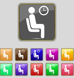 Waiting icon sign set with eleven colored buttons vector