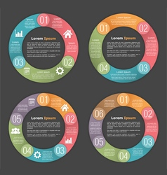 Circle diagram templates vector
