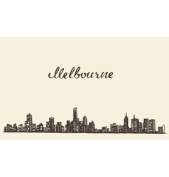 Melbourne skyline engraved drawn sketch vector image
