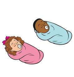 babies bundled girl boy vector image