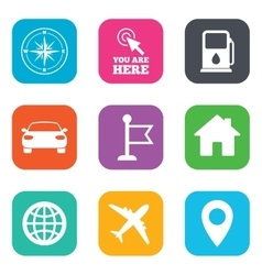 Navigation gps icons windrose compass signs vector