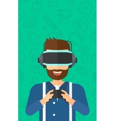 Man wearing virtual reality headset vector