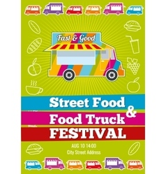 Poster with wagon full of tasty summer food vector