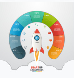 9 steps startup circle infographic with rocket vector