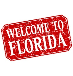 Welcome to florida red square grunge stamp vector