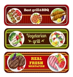 Grill dishes banners vector
