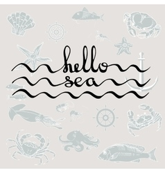Hello sea calligraphy black text vector