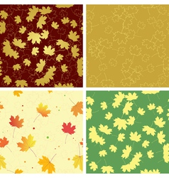 Autumn bright leaves on seamless patterns vector