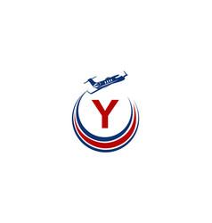 Airplane logo initial y vector