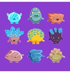 Alien fantastic golem characters of different vector