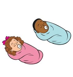 Babies bundled girl boy vector