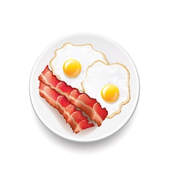 Bacon and eggs isolated on white vector image vector image