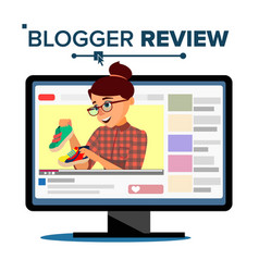 blogger review concept vetor popular young video vector image vector image
