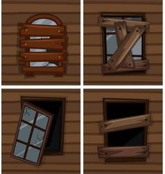 Broken windows on wooden wall vector