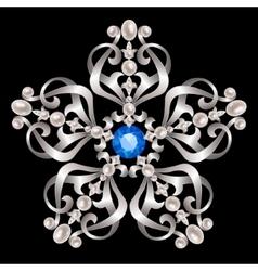 Brooch with pearls vector