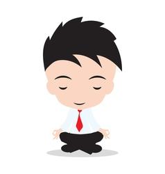 Businessman meditating and relaxing in lotus pose vector
