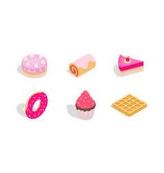 cake icon set isometric style vector image vector image