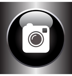 Camera simple icon on black button vector image vector image