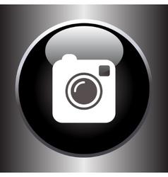 Camera simple icon on black button vector image vector image
