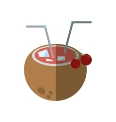 Coconut cocktail exotic drink ice cherry straw vector