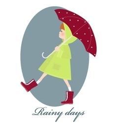 Cute girl with umbrella in rainy season vector image