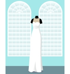 Direct wedding dress on mannequin in saloon vector
