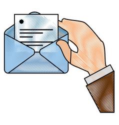 Envelope paper sheet hand vector