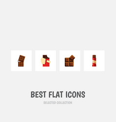 Flat icon sweet set of shaped box wrapper cocoa vector