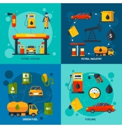 Gas station 4 flat icons square vector