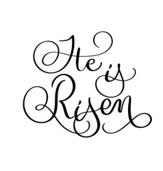 he is risen text on white background hand drawn vector image vector image