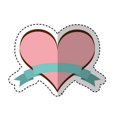 Heart love with ribbon vector