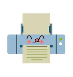 kawaii printer paper mobile application vector image vector image