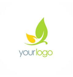 leaf cosmetic organic logo vector image vector image