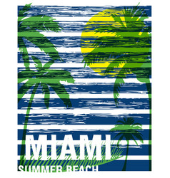 miami summer tee graphic design vector image vector image