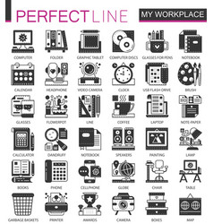 My workspace workspace black mini concept icons vector