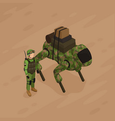 robot soldier isometric vector image vector image