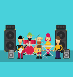 Rock band flat vector