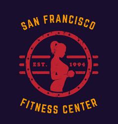 round vintage emblem logo gym t-shirt print vector image