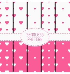 Set of pink romantic geometric seamless pattern vector