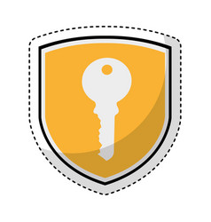Shield insurance with key isolated icon vector