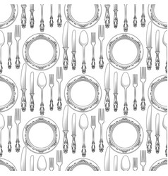 Table setting seamless pattern vector