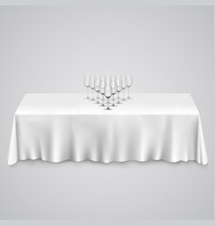 table with a tablecloth glasses vector image vector image