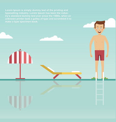 Young man is ready to jump into swimming pool vector