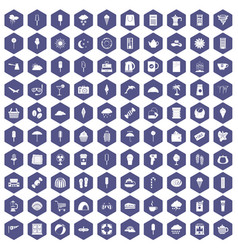 100 ice cream icons hexagon purple vector
